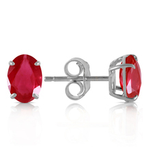 1.8 Carat 14k Solid White Gold Stud Earrings Natural Ruby - $162.42