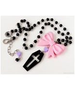 Pastel Goth Coffin Necklace, Black Purple and Pink, Beaded Rosary Chain ... - $24.00