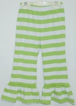 Blanks Boutique Girls Striped Ruffle Pants Color Green Size 2T image 1