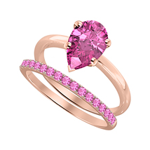 Pear Cut Pink Sapphire 14k Rose Gold Over 925 Silver Engagement Bridal Ring - $81.59