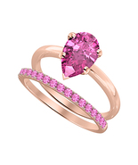 Pear Cut Pink Sapphire 14k Rose Gold Over 925 Silver Engagement Bridal Ring - $95.99