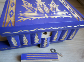 Purple Secret Wooden Puzzle Box for Hiding Valuables Hungary Key Lock Mi... - $59.16