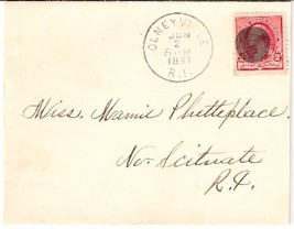 1891 Olneyville, RI Discontinued/Defunct Post Office (DPO) Postal Cover - $7.99