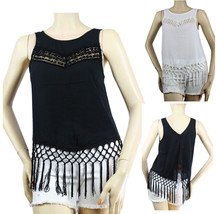 Crochet Trim Front,Open Back CHIFFON Tank Top w/ Fringe,Cute Casual Shir... - $19.99