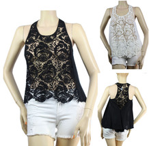 Good Quality LACE BODY Short Sleeve CHIFFON TANK TOP w/Button Casual Shi... - $23.99