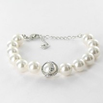 Swarovski 5048084 Nude Bracelet Clear Crystals Simulated  Pearls Rhodium... - $106.69