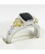 Judith Ripka Small Estate  Ring Black Onyx Wt Sapphire 18k Y G 925 Sz 7 ... - $310.39