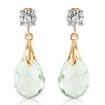 6.06 CTW 14k Solid Yellow Gold Stud Earrings Diamond Green Amethyst - $288.58