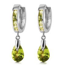 3.9 Carat 14k Solid White Gold Huggie Earrings Dangling Peridot - $396.27