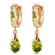 3.9 Carat 14k Solid Rose Gold Huggie Earrings Dangling Peridot - $396.27