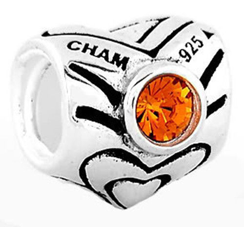 STERLING SILVER NOVEMBER BIRTH MONTH ORANGE SWAROVSKI CRYSTAL EUROPEAN BEAD
