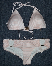 NEW Victoria's Secret Light Pink Stripped Bikini Top and Hipster Bottom. Size: S - $55.00
