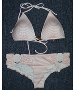 NEW Victoria's Secret Light Pink Stripped Bikini Top and Hipster Bottom.... - $55.00