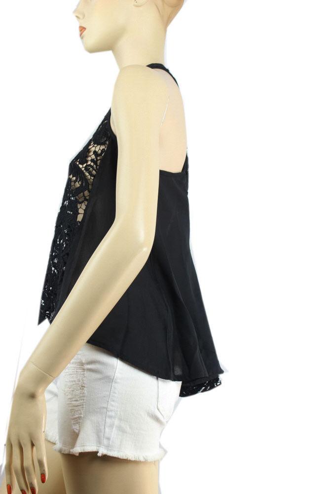 Good Quality LACE BODY Short Sleeve CHIFFON TANK TOP w/Button Casual Shirt SML