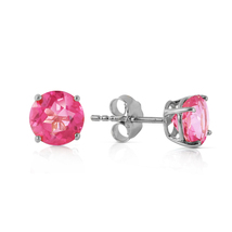 1.3 Ct 14k Solid White Gold Pink In June Pink Topaz Earrings - $136.37