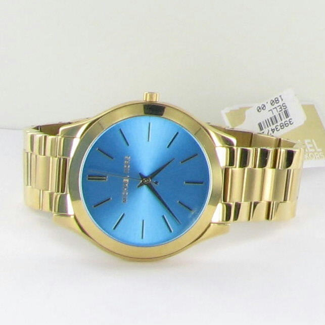 e5a6a72053b19 Michael Kors MK3265 Women s Slim Runway Gold Tone Turquoise Dial Watch NWT   195