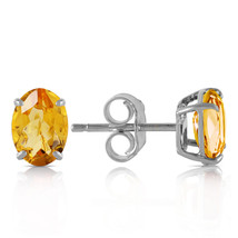 1.8 Ct 14k Solid White Gold A Bee Or Two Citrine Earrings - $124.19