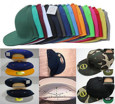 Plain Snapback Hat Blank Basic SNAP BACK Cap Flatbill Hip Hop Adjustable... - $6.99+