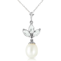 4.75 Carat 14k Solid White Gold Necklace Pearl Green Amethyst - $186.27 - $225.26