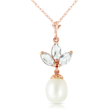 4.75 Carat 14k Solid Rose Gold Necklace Pearl Green Amethyst - $186.27 - $225.26