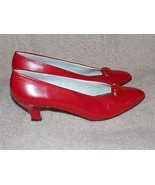 Liz Claiborne RED Heel Pumps 10N Narrow Leather Women Used - $39.59