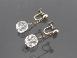 Antique Art Deco 14K Solid White Gold White Crystal Earrings  - $360.00