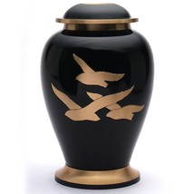 Large Going Home Black Adult Urn for Human Ashes, Brass Memorial Cremation Urns - $200.00
