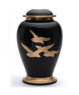 Large Going Home Black Adult Urn for Human Ashes, Brass Memorial Cremati... - $200.00