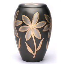 Large Majestic Lilies Brass Adult Memorial Urn, Cremation Urn for Ashes USA - $200.00