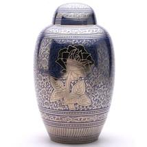 Blue Rose Large Adult Cremation Urn for Ashes, Handmade Brass Memorial Urn USA - $200.00