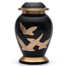 Small Going Home Black Keepsake Cremation Urn, Brass Funeral Urn for Ashes - $42.00