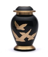 Small Going Home Black Keepsake Cremation Urn, Brass Funeral Urn for Ashes - $39.99