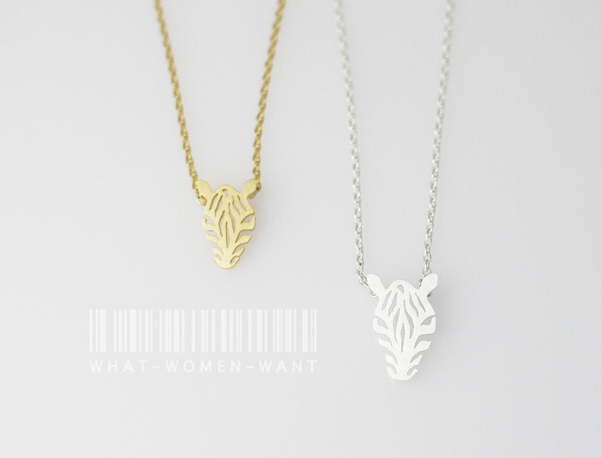 zebra necklace zebra charm animal necklace minimalist