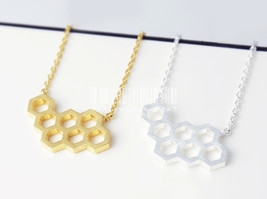 Hexagon, necklace, Honeycomb necklace, geometric necklace, minimalist je... - $8.90