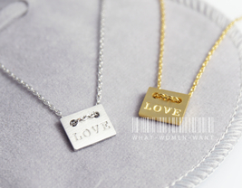 Basic square necklace, love necklace, square ne... - $8.90