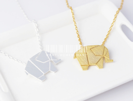 Origami elephant necklace, origami necklace, elephant necklace, animal n... - $9.80