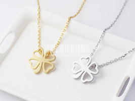 Four Leaf Clover Necklace, clover necklace, four leaf necklace, lucky ch... - $8.90