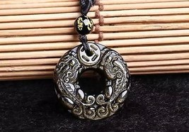 natural Gold Obsidian stone Hand carved  Round PI yao Charm luck pendant - $25.74