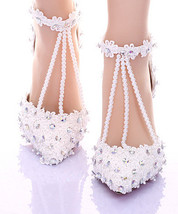 White Lace closed toe wedding shoes,Designer Bridal Shoes,Pearls wedding... - $98.00