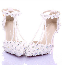 Lace Pearls Bridal Shoes,Floral Bridal Shoes,White Bridesmaids Shoe,Brid... - £78.84 GBP