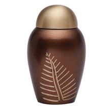 Mini Bronze Leaf Imprint Brass Funeral Keepsake Urn, Cremation Urn for Human Ash - $42.00