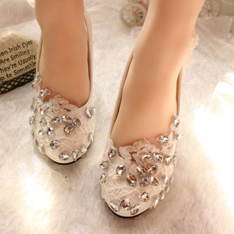 Lace Bridal Low Heels,Floral Bridal Heels,Bridesmaids Heels,Affordable Shoes - $48.00