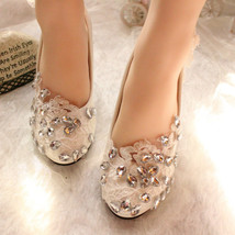 Lace Bridal Low Heels,Floral Bridal Heels,Bridesmaids Heels,Affordable S... - £38.61 GBP