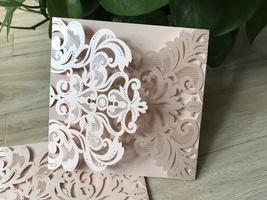 Laser Cut Wedding Invitation,50pcs Invitation Cards,Incarnadine Color In... - $59.20