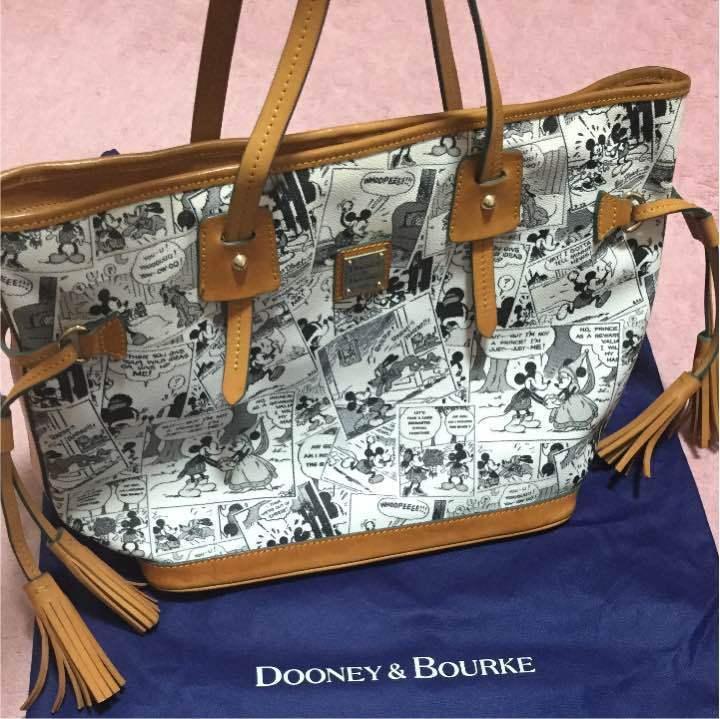 Dooney & Bourke Disney Mickey Mouse Comic Pattern Tassel Tote Bag Hand shoulder - $193.05