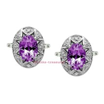 925 Solid Sterling Silver Natural Amethyst & Cz Gemstones Men Cufflinks Jewelr - $99.00
