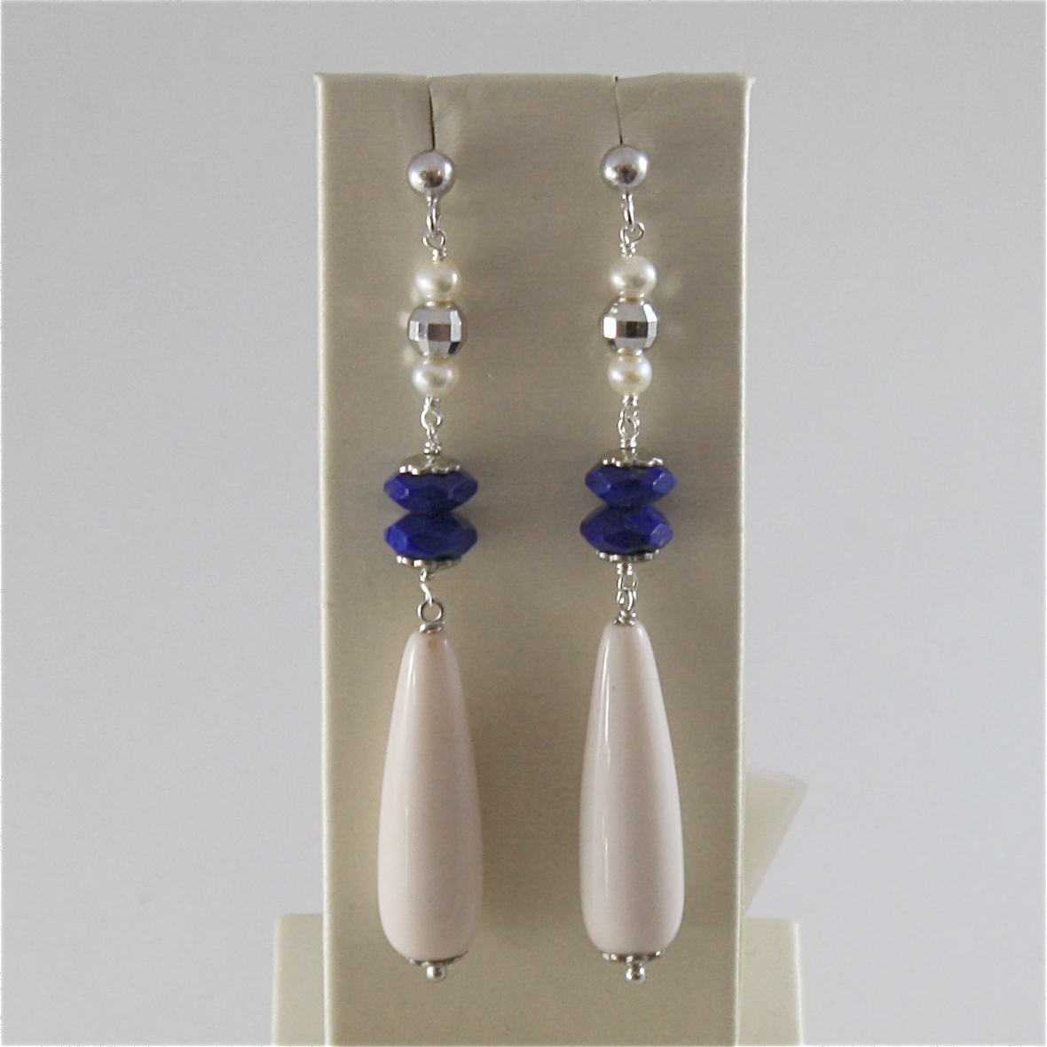 925 RODIUM SILVER EARRINGS WITH FACETED BALLS LAPIS LAZULI PEARL, MADE IN ITALY
