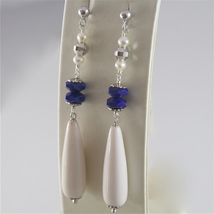 925 RODIUM SILVER EARRINGS WITH FACETED BALLS LAPIS LAZULI PEARL, MADE IN ITALY image 2