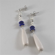 925 RODIUM SILVER EARRINGS WITH FACETED BALLS LAPIS LAZULI PEARL, MADE IN ITALY image 3