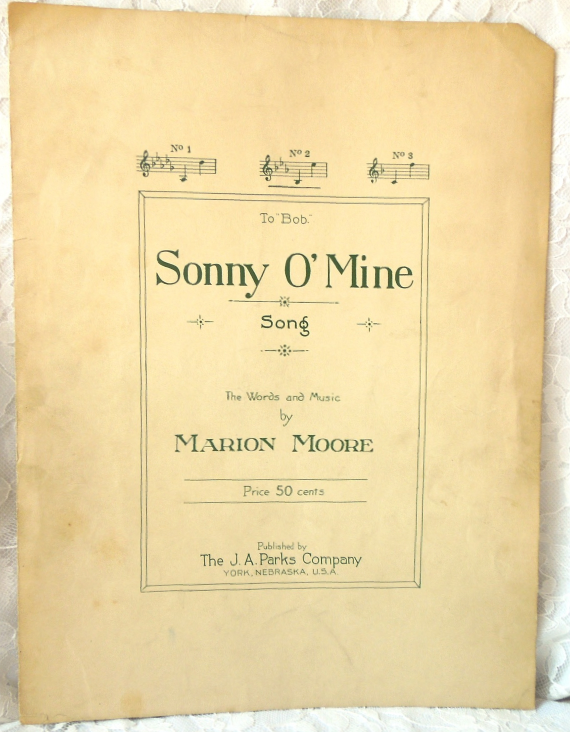 "Primary image for Antique Sheet Music -1923 - ""Sonny O' Mine"" - by Marion Moore #7535"